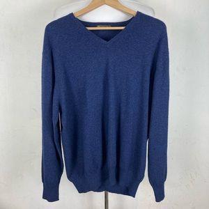 Loro Piana Cashmere 46 V Neck Navy Blue Sweater